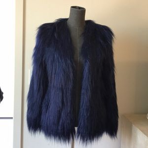 URBAN OUTFITTERS faux navy blue fur jacket